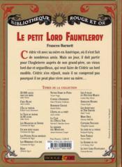 Le petit Lord Fauntleroy - 4ème de couverture - Format classique