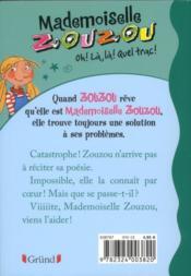 Mademoiselle Zouzou t.2 ; oh, là, là ! quel trac - 4ème de couverture - Format classique