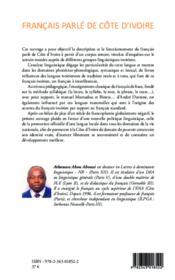 Francais parlé de Côte d'Ivoire - Couverture - Format classique