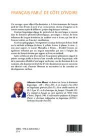 Francais parlé de Côte d'Ivoire - 4ème de couverture - Format classique