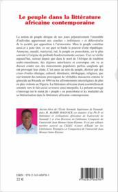 Le peuple dans la littérature africaine contemporaine - Couverture - Format classique