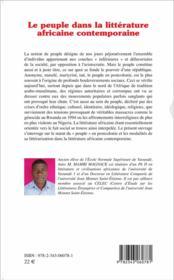 Le peuple dans la littérature africaine contemporaine - 4ème de couverture - Format classique