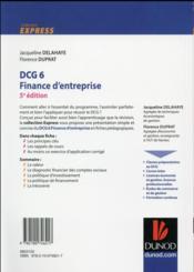 DCG 6 ; finance d'entreprise ; l'essentiel en fiches (5e édition) - 4ème de couverture - Format classique