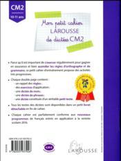 Petit cahier de dictées ; CM2 - 4ème de couverture - Format classique