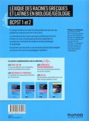 Lexique des racines grecques et latines en biologie/géologie ; BCPST 1 et 2 - 4ème de couverture - Format classique