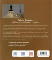 Patrons de couture ; utilisation, modification, création - 4ème de couverture - Format classique