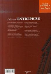 Créer son entreprise - 4ème de couverture - Format classique