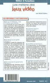 Metiers Et Formations Jeux Video - 4ème de couverture - Format classique