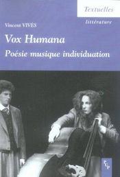 Vox humana. poésie musique individuation - Intérieur - Format classique