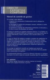 Manuel de contrôle de gestion (4e édition) - 4ème de couverture - Format classique
