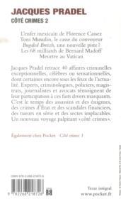 Côté crimes t.2 - 4ème de couverture - Format classique