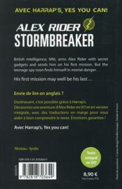 Alex Rider ; stormbreaker - 4ème de couverture - Format classique