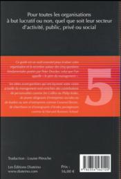Les cinq questions fondamentales du management ; l'essentiel de la sagesse de Peter Drucker pour les dirigeants d'aujourd'hui - 4ème de couverture - Format classique