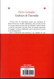 Couleurs de l'incendie - 4ème de couverture - Format classique