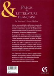 Précis de littérature française (5e édition) - 4ème de couverture - Format classique
