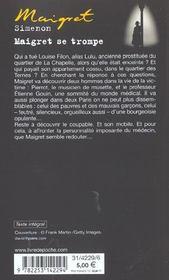 Maigret se trompe - 4ème de couverture - Format classique