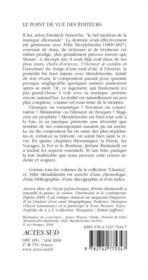 Felix Mendelssohn - 4ème de couverture - Format classique