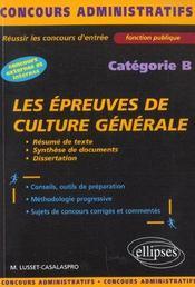 Les Epreuves De Culture Generale Categorie B Concours Externes Et Internes Fonction Publique - Intérieur - Format classique