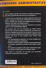 Les Epreuves De Culture Generale Categorie B Concours Externes Et Internes Fonction Publique - 4ème de couverture - Format classique