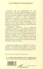 L'Alterite Fondatrice : Comprehension Psycho-Phenomenologique Du Processus De Fondement Du Sujet Psychique - 4ème de couverture - Format classique