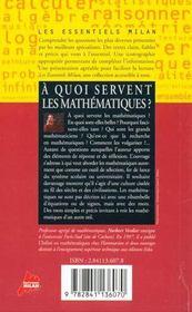 A quoi servent les mathematiques - 4ème de couverture - Format classique