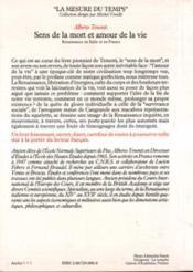 Sens de la mort et amour de la vie ; renaissance en Italie et en France - 4ème de couverture - Format classique