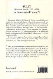 Sully ; mémoires des sages économies royales t.2 ; (1590-1594) ; la conversion d'Henry IV - 4ème de couverture - Format classique