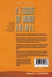 À l'écoute du monde animal - 4ème de couverture - Format classique