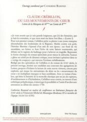 Claude Crébillon ou les mouvements du coeur ; lettres de la marquise de M au comte de R - 4ème de couverture - Format classique