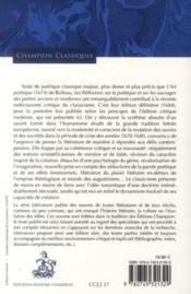 Les réflexions sur la poétique et sur les ouvrages des poètes anciens et modernes (1684) - 4ème de couverture - Format classique