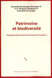 Patrimoine Et Biodiversite - Couverture - Format classique