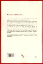Patrimoine Et Biodiversite - 4ème de couverture - Format classique