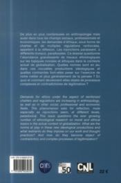 JOURNAL DES ANTHROPOLOGUES N.136 ; désirs d'éthique, besoins de normes ? - 4ème de couverture - Format classique