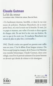 La loi du retour ; la maison vide, l'hôtel du retour, rue de Paris - 4ème de couverture - Format classique