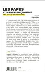 Les papes et la franc-maçonnerie ; une opposition irééductible - 4ème de couverture - Format classique