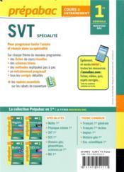 Prépabac cours & entraînement ; SVT ; 1re, spécialité (édition 2019) - 4ème de couverture - Format classique