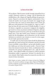 La force d'une idée ; l'idée de justice sociale - 4ème de couverture - Format classique