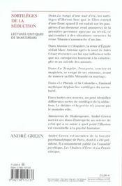 Les sortilèges de la séduction ; lectures critiques de Shakespeare - 4ème de couverture - Format classique