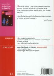Le barbier de Séville, de Beaumarchais - 4ème de couverture - Format classique