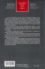 Tacite reconduction et volonté des parties - 4ème de couverture - Format classique