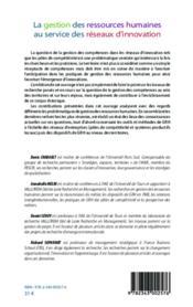Gestion des ressources humaines au service des réseaux d'innovation - 4ème de couverture - Format classique