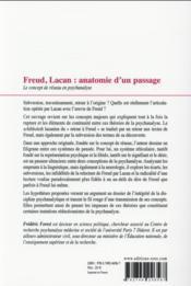 Freud, Lacan ; anatomie d'un passage : la notion de réseau en psychanalyse - 4ème de couverture - Format classique