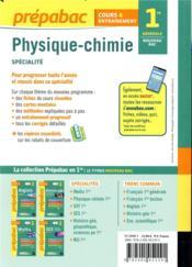 Prépabac cours & entraînement ; physique-chimie ; 1re, spécialité (édition 2019) - 4ème de couverture - Format classique