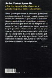 J'ai cru que c'était un homme ; Alain, les religions, la laïcité, l'antisémitisme - 4ème de couverture - Format classique
