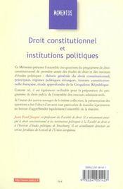 Droit Constitutionnel Et Institutions Politiques - 4ème de couverture - Format classique