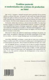 Tradition Pastorale Et Modernisation Des Systemes De Production Au Sahel - 4ème de couverture - Format classique