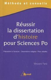 Réussir la dissertation d'histoire pour science po - Intérieur - Format classique