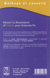 Réussir la dissertation d'histoire pour science po - 4ème de couverture - Format classique