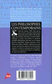 Les philosophes contemporains - 4ème de couverture - Format classique