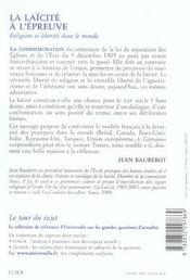 La laicite a l'epreuve religions et libertes dans le monde - 4ème de couverture - Format classique